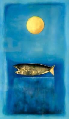 Vọng nguyệt- Tranh sơn mài của Thành Chương. Khổ: 120 x 70cm. St năm 2016. Giá khởi điểm: 8000USD