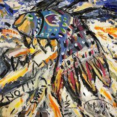 """""""Swim ?""""- Tranh sơn dầu+Acrylic trên toan của Lê Kinh Tài. Khổ: 70x70cm. St năm 2016. Giá khởi điểm: 1000 USD. Tranh đã được mua với giá 30 triệu VND."""