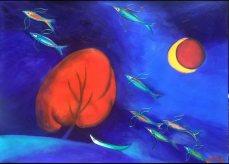 Giấc mơ loài cá- Tranh Acrylic trên bìa của Đào Hải Phong. Khổ: 79 x 110cm. St năm 2016. Giá khởi điêm: 1.500 USD. Tranh đã được mua với giá 1.500 USD