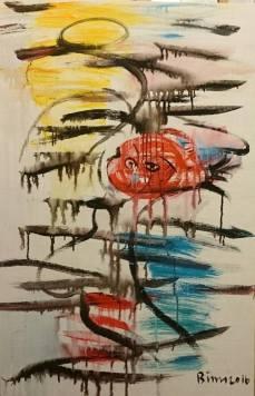 Cá khóc- Tranh acrylíc trên vải của Phương Bình. Khổ: 80x120cm. St năm 2016. Giá khởi điểm: 14 triệu VND